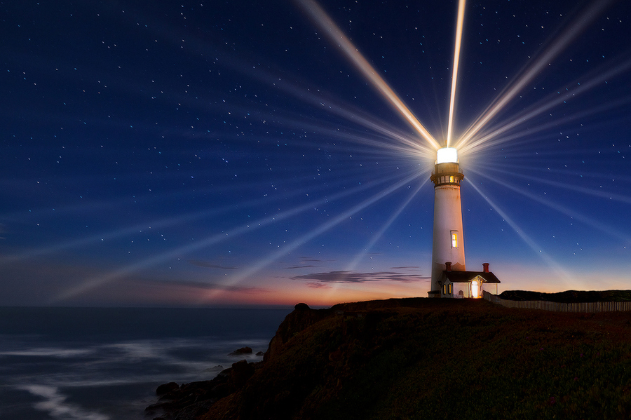 Lighthouse emitting light in all directions