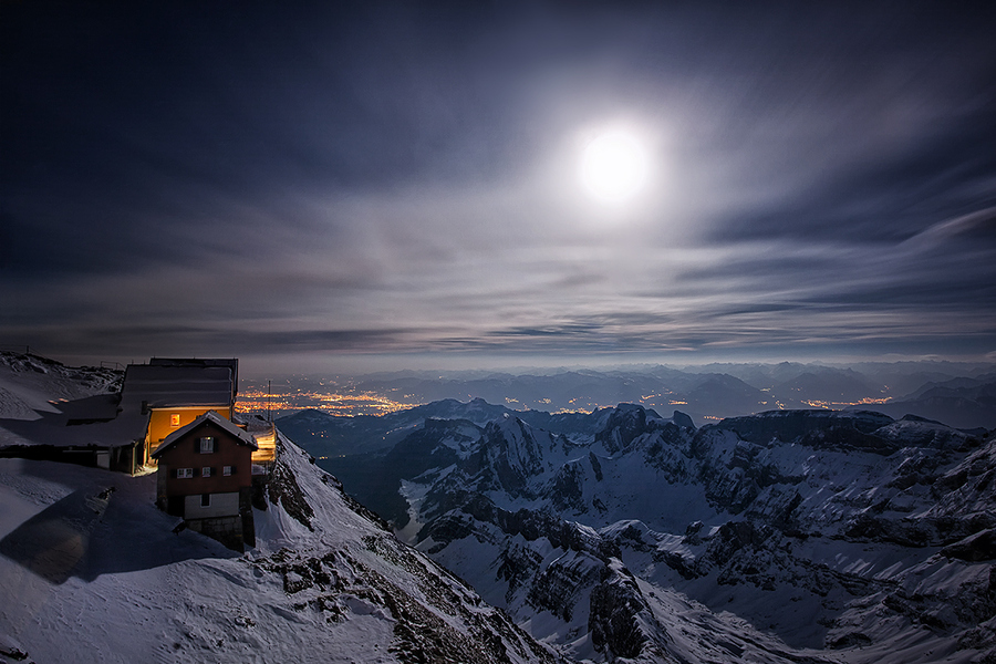 mountain station in full moon