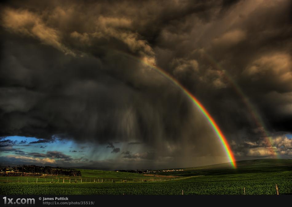 Rainbow and storm