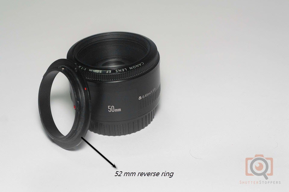50mm lens and 52mm reverse ring