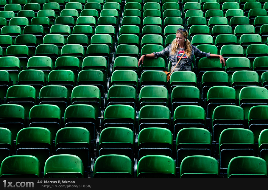 girl and green chairs