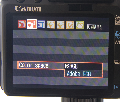 Color space menu on canon DSLR