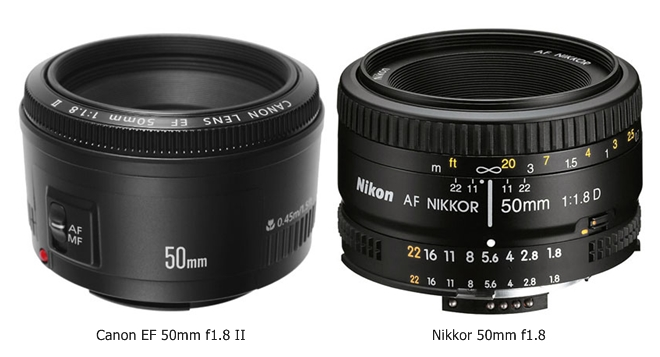 50mm f1.8 prime lenses of canon and nikon