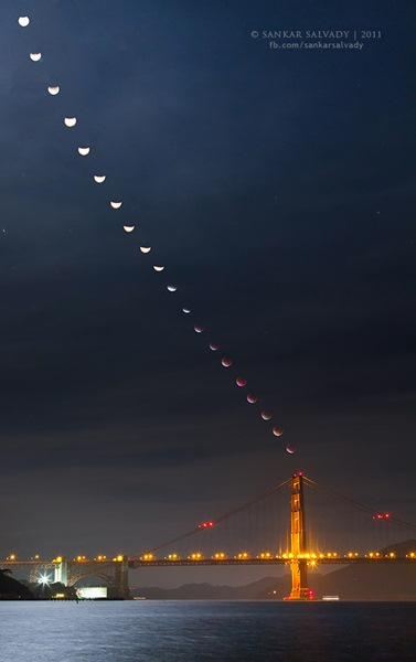 Lunar eclipse trail over a bridge