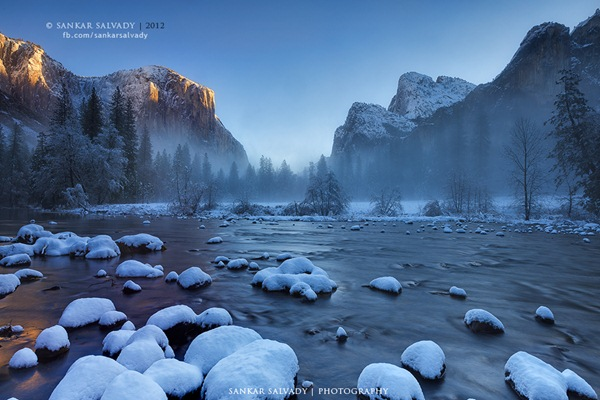 Yosemite national park in december snow