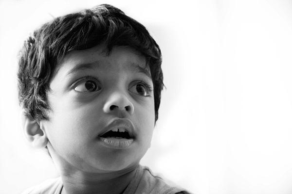 high key portrait of a kid