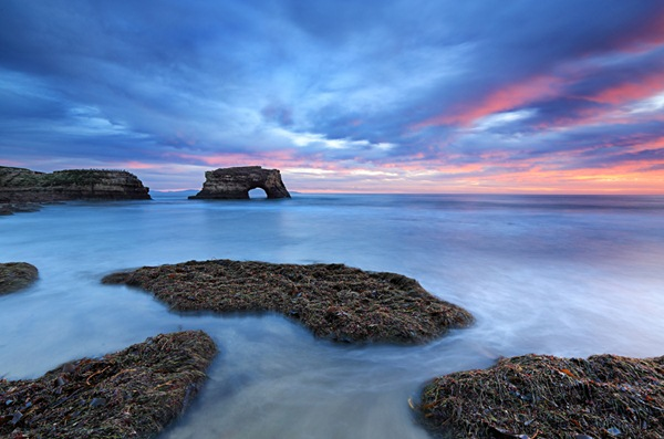 Arch shaped rock in santa cruz california