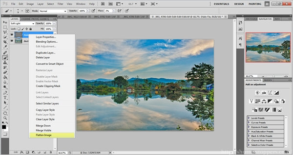 Flatten the layer in photoshop