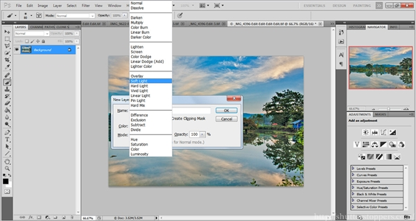 Soft light blending mode in photoshop