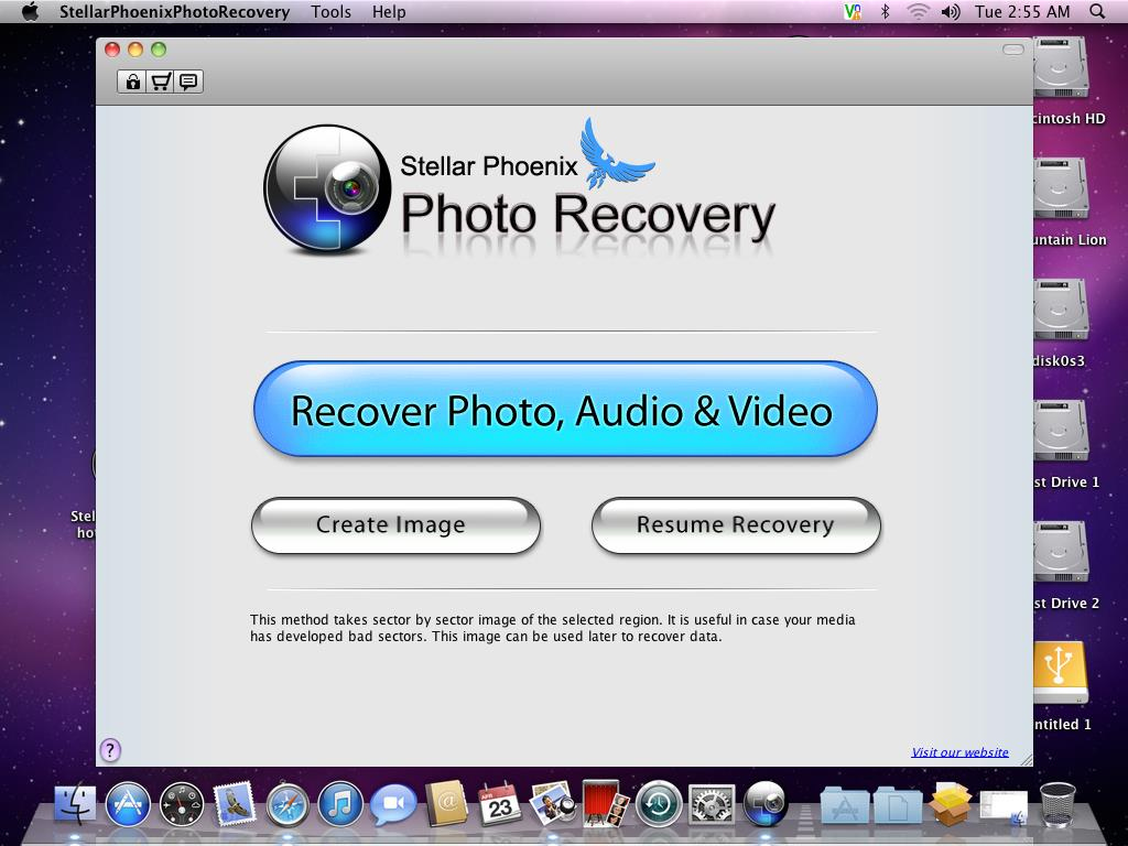 user interface box of Stellar Phoenix Photo Recovery