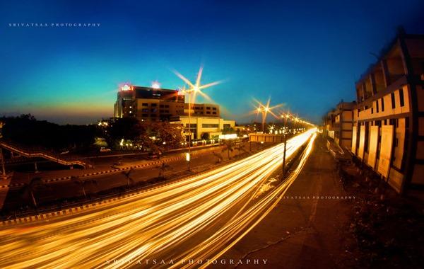 traffic light trails -- light trail photography