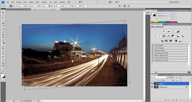 Step 1 Adjust the tilt -- photoshop tutorial