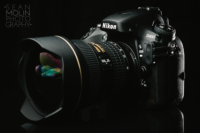 product photograph of Nikon dslr -- product photography