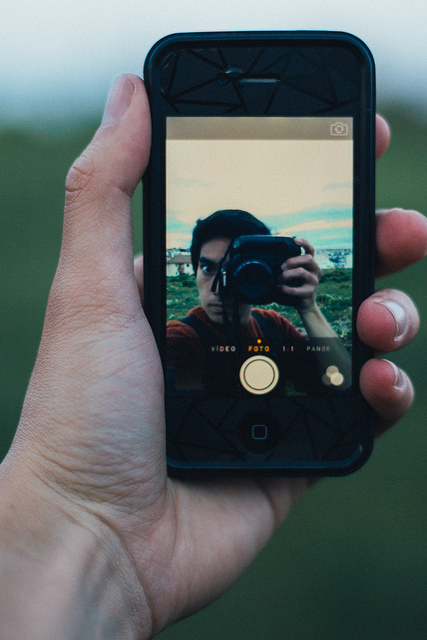 selfie using an iphone --  instagram photography